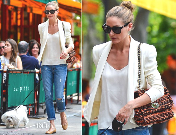 Olivia Palermo walks down the street with her dog .She looks classy yet casual. She is wearing distressed Paige Denim 'Lydia' skinny jeans and a white colored blazer by Rebecca Minkoff 'Becky' blazer.I just love it how she wore a simple white shirt underneath her white blazer which looks so classy. She tried to make it casual and laid back with her ripped denim which she paired with nude ballerina flats and Mulberry bag.Mulberry bag totally gives her look a bit of pop of color in her outfit.Her hairdo is neat as well. She put it in a cute bun. Who wouldn't wear this look? I would totally wear it. It's not over done but it looks so chic. Who said you can't be stylish while walking a dog? Isn't it miss Palermo?