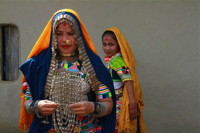A Tharu Rana woman wearing a Typical Tharu Rana neckalce . How pretty and unique is that?